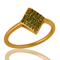 14K Yellow Gold Plated Sterling Silver Pave Set Tsavorite Womens Stacking Ring