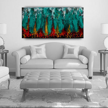 Original OIL PAINTING Red Abstract Large Artwork Contemporary Turquoise Multicolor Hand Made Beautiful Fine Art Decor by Nandita Albright