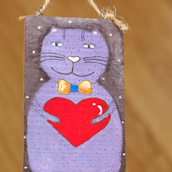 Cat painting on wood Mothers day gift Fathers day gift Cat art Acrylic Original painting Wood art for cat lover Handmade Wall hanging love