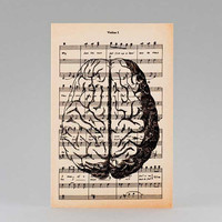 Anatomy human brain dictionary greeting card - Halloween - 4x6 inch on Ivory Paper  - created by NATURA PICTA