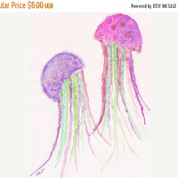50%OFF Nursery Art ORIGINAL Watercolor Painting Jellyfish Art childrens art