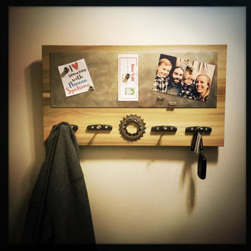 Bike Gift For Men, Rustic Message Board, Magnetic Memo Board, Unique Cyclist Gift, Unique Organizer, Rustic Organizer, Family Organizer