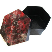 Hexagonal Trinket Box hand painted in black, crimson red and metallic silver, decoupaged top, mini decorative box, small box, fancy gift box