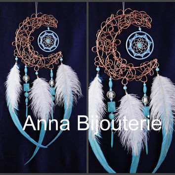 Dream Catcher Blue Moon Dreamcatcher Copper Dream сatcher dreamcatchers boho dreamcatchers wall decor handmade decoration idea gift idea