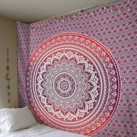 Purple and Red Gradient Mandala Hanging Wall Tapestry