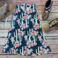 Floral Cactus V-Neck Sleeveless Dress - with Choker
