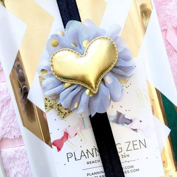 Black Planner Band with Puffy Gold Heart on Gray & Metallic Gold Flower
