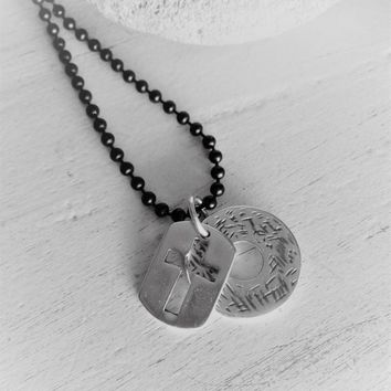Mens black chain cross necklace, mens silver perforated cross, engraved disk necklace, urban style necklace, rock style black chain pendant