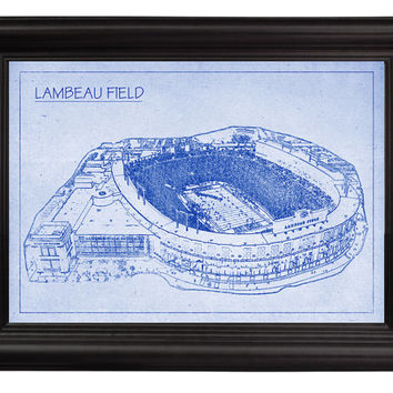 Lambeau Field NFL Green Bay Packers Football Stadium Blueprint on Photo Paper Sports Memorabilia Wall Hanging Art Home Decor Print