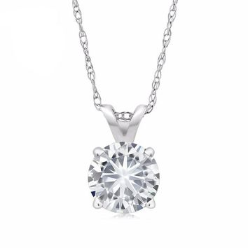 "Charles & Colvard 6MM VG Moissanite 14k White Gold Solitaire Pendant Round 4 Prong With COMPLIMENTARY 18"" 14K White Gold Chain"