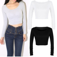 Ladies Women Long Sleeve Casual Basic Blouse Crop Tops Shirts T-shirt Tee Sexy H = 1956650308
