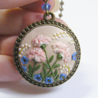 Pale Pink Carnation 3D Pendant - Handmade Jewelry, Polymer Clay Applique, Flower Pendant Necklace