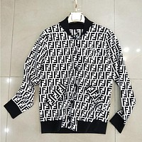 FENDI Women Fashion V-Neck Cardigan Jacket Coat