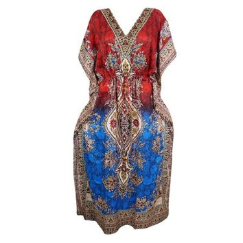 Mogul Womens Kimono Caftan Dress Printed Red/Blue Beach Bikini Cover Up Resort Wear Holiday Maxi Kaftan FREESIZE - Walmart.com
