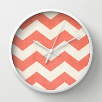Vintage Coral Chevron Wall Clock by The Dreamery