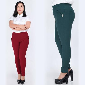 Extra Large Plus Size 3XL-6XL Clothing Trousers Pencil Pants Elastic High Waist Women Skinny Trousers red/green/blue/black.