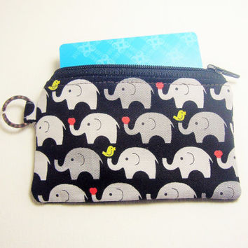 Gift for her Elephant zippy case women wallet credit cardholder, id1330875, travel organizer, grab and go, zipper coin id work lanyard purse
