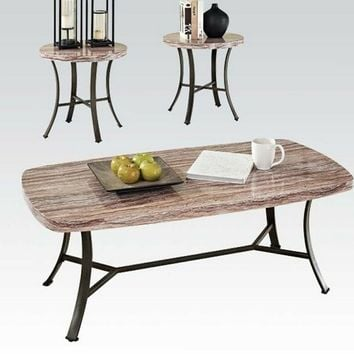 Acme 80250 Val 3 pc pack beige and brown faux marble top coffee and end table set with black metal frames