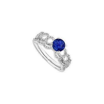 Sapphire and Diamond Engagement Ring with Wedding Band Set : 14K White Gold - 0.75 CT TG