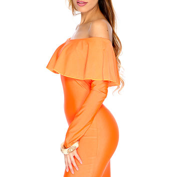 Sexy Neon Orange Off Shoulder Ruffle Long Sleeve Bodycon Party Dress