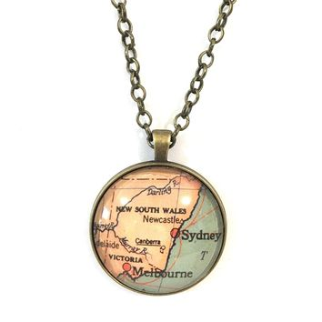 Sydney Vintage Map Large Pendant