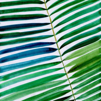 Tropical palm leaf Set of 3 watercolor painting coconut tree nature green wall art, botanical print poster leaf Tropical beach decor print