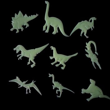9PCS/Pack Dinosaur Glow In The Dark Wall Stickers Luminous Home Decor Decal Baby Kids Room Fluorescent Stickers