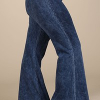 Chatoyant Plus Size Mineral Wash Flare Pants in Electric Blue