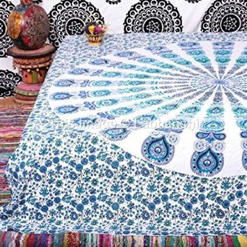 1 X Indian Peacock Mandala Tapestry ,Indian Wall Hanging ,Hippie Indian Tapestry,bohemian Wall Hanging,queen Bedspread Throw Decor Art