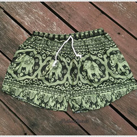 Green Elephant Shorts Hippie Hipster Clothing Summer Boxers Aztec Ethnic Bohemian Ikat Thai Sleepwear Nightwear Sexy Cute Baggy Girls Cloth
