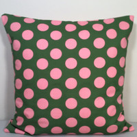 "2 Pillow Covers 100% Cotton, Olive Green with Big Pink Polka Dots - READY TO SHIP - 14"" x 14"""