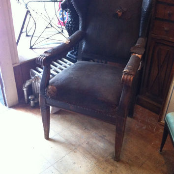 Vintage French Leather Wing Chair
