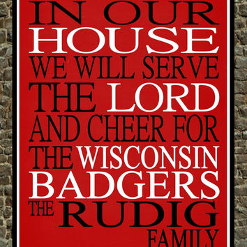Customized Name Wisconsin Badgers NCAA personalized family print poster Christian gift sports wall art - multiple sizes