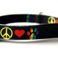 Peace Love and Paws Dog Collar Adjustable Sizes (XS, S, M)