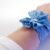 Air Force BLUE Lace Wrist Cuff with Lace Flower and Vintage Button Fashion accessory Women Teens MANY COLORS