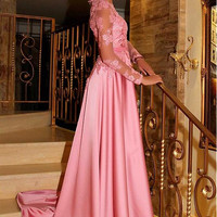 Robe De Soiree Evening Party Dress Real Photo Long Sleeves Party Occasion Formal Long Evening Dress 2017 Pink Evening Dress