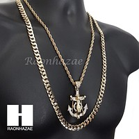 "MEN ICED OUT ANCHOR JESUS ROPE CHAIN DIAMOND CUT 30"" CUBAN CHAIN NECKLACE SET G1"