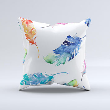 The Watercolour Feather Floats ink-Fuzed Decorative Throw Pillow