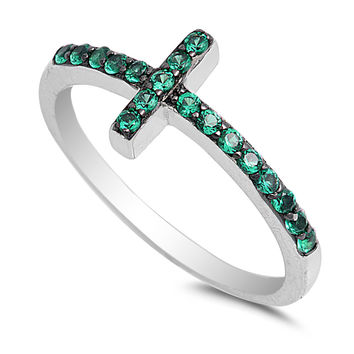 Sterling Silver CZ Simulated Emerald Christian Sideway Cross Ring 9MM