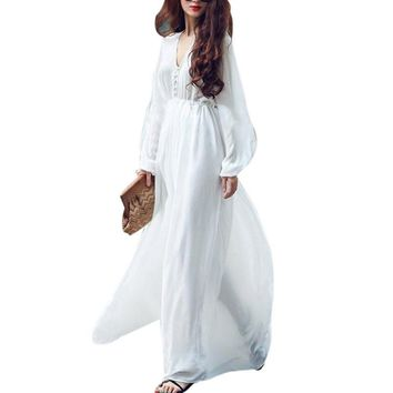 Women Summer White Dress Boho Evening Party Long Maxi Beach Dresses V-neck Chiffon Sundress
