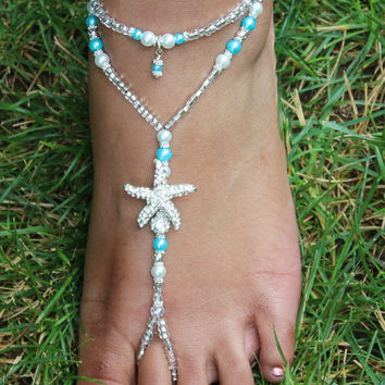 Starfish Barefoot Sandals Turquoise Crystal Foot Jewelry Anklet -- ONE PAIR