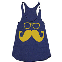 Womens Mustache Wayfarer Glasses Tri-Blend Racerback Tank Top - american apparel - XS, S, M, and L (9 Color Options)