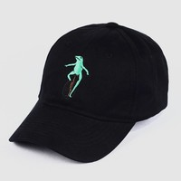 New Embroidery Wheelbarrow Frog Dad Snapback Baseball Cap Curved Bill Green Frog Pepe Fitted Hats Meme Frog Visor Hat Gorras
