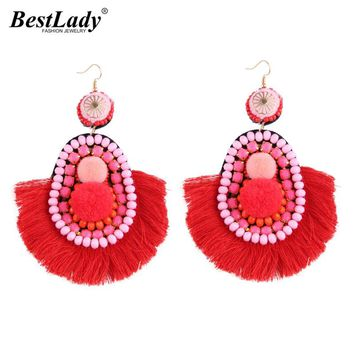 Best lady Hot Brand Fringed 4 Colors Bohemian Tassel Drop Earrings Jewelry Fashion Women Statement Dangle Earrings Wholesale