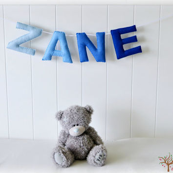 Personalized felt name banner - name garland  - ombre blue wall art - Nursery decor - MADE TO ORDER