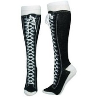 Whimsical Knee-high Socks (Black) Printed Laces and Real Shoelace - 1 Pair