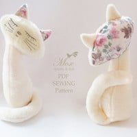 Cat Marta Softie Sewing Pattern PDF Stuffed Animal Kitten Easy Tutorial Instant Digital Download