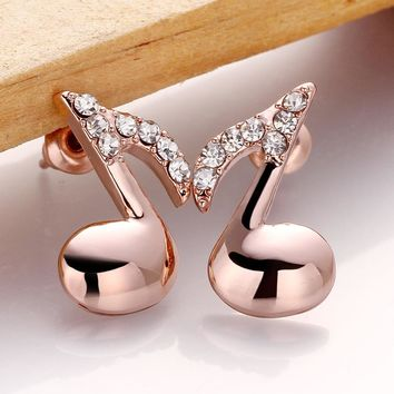 MEEKCAT Brand Hot Sale Rose Gold Color Crystal Rhinestone Earrings Fashion Music Note Stud Earring For Women Accessory Jewelry