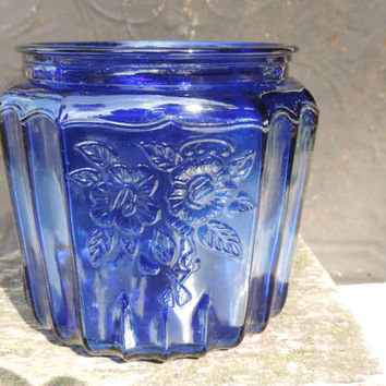 Vintage Cobalt Blue Cookie Jar Mayfair Open Rose Anchor Hocking Bisquit Jar