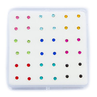 925 Sterling Silver Multicolored Pack of 36 Nose Stud Earrings